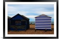 Beach huts, Framed Mounted Print