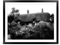 Cottage B&W, Framed Mounted Print