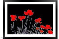 Neon Poppies, Framed Mounted Print