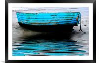 Blue Boat at Beadnell Beach, Framed Mounted Print