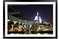 St Paul's and Millennium Bridge, London, Framed Mounted Print