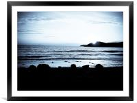St Davids sunset, b&w, Framed Mounted Print
