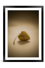 Gold wooden heart, Framed Mounted Print