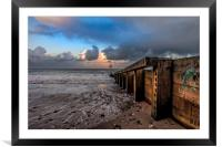 Sea Groyne, Framed Mounted Print
