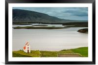Iceland church and landscape, Framed Mounted Print