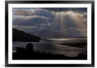 Eilean Donan Castle Sun Rays, Framed Mounted Print