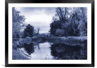 Blue Chinese Bridge Wrest Park, Framed Mounted Print