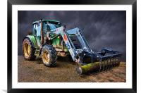 Tractor drama, Framed Mounted Print