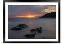 Sunset at Poldhu Cove, Framed Mounted Print
