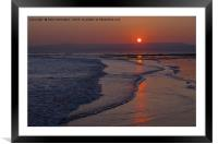 Sunset over Exmouth beach, Framed Mounted Print