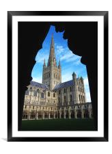 Norwich Cathedral from the Cloisters, Framed Mounted Print