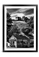 The Three Roofs Cafe Castleton, Framed Mounted Print