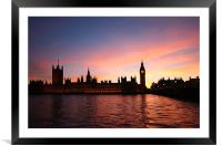 London Skyline Sunset, Framed Mounted Print