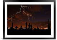 Lightening Strikes Over The Graveyard, Framed Mounted Print
