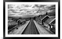 Settle Railway Station in Mono, Framed Mounted Print