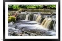 Aysgarth Falls Painting, Framed Mounted Print