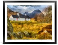 Black Rock Cottage, Glencoe Digital Art, Framed Mounted Print