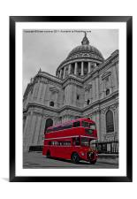 Red London Bus at St. Paul's, Framed Mounted Print