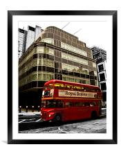 Express Building and London Bus, Framed Mounted Print