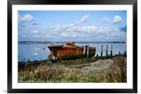 Rusty Wreck on River Medway, Framed Mounted Print