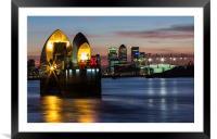 Thames Barrier and Docklands, Framed Mounted Print