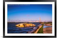 Riverside Wreck at High Tide, Framed Mounted Print