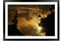Temple Finial and Bamboo at Dawn, Framed Mounted Print