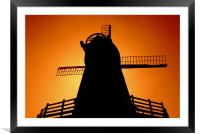 Windmill Silhouette, Framed Mounted Print