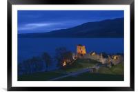 Urquhart Castle at blue hour, Framed Mounted Print