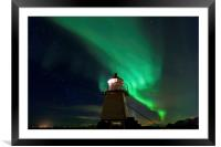 Aurora Borealis at the lighthouse, Framed Mounted Print