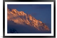 Alpine sunset I, Framed Mounted Print