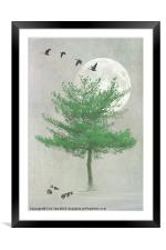 A TREE IN THE MOONLIGHT, Framed Mounted Print
