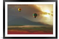 Hot Air Balloons At Sunset, Framed Mounted Print