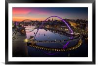 High View Twilight Tyne, Framed Mounted Print