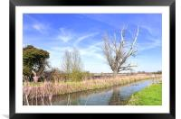 Fenland Scene - A view of a fen lode, Framed Mounted Print