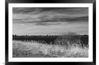 Fenland Scene - A black & white view, Framed Mounted Print