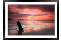 Sunset shipwreck, Framed Mounted Print