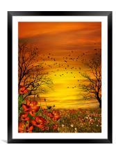 Orange Meadow, Framed Mounted Print