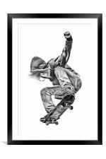 Skateboarding Jump, Framed Mounted Print