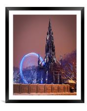 Scott Monument during the winter festival, Framed Mounted Print