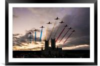 Red Arrows over Lincoln Cathedral, Framed Mounted Print