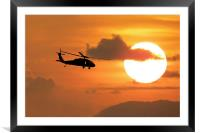 Black Hawk Silhouette, Framed Mounted Print