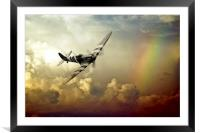Spitfire Passing Through The Storm , Framed Mounted Print