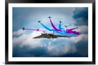 Vulcan Red Arrows Break, Framed Mounted Print