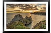 Three Cliffs Sunset, Framed Mounted Print