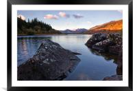 Mymbyr lakes with snowdon in the distance, Framed Mounted Print