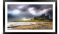 Stormy sky over Bamburgh Castle, Framed Mounted Print