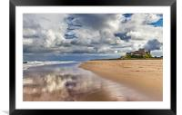 Bamburgh Castle and Beach, Framed Mounted Print