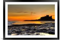 Bamburgh Beach at Sunrise, Framed Mounted Print