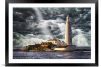 Stormy Skies at St Marys Lighthouse, Framed Mounted Print